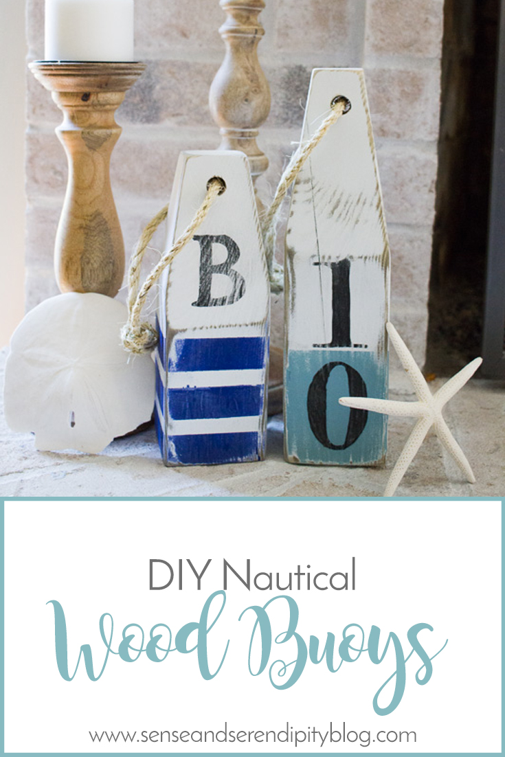 Diy nautical wood buoys sense serendipity summer decor for Nautical projects