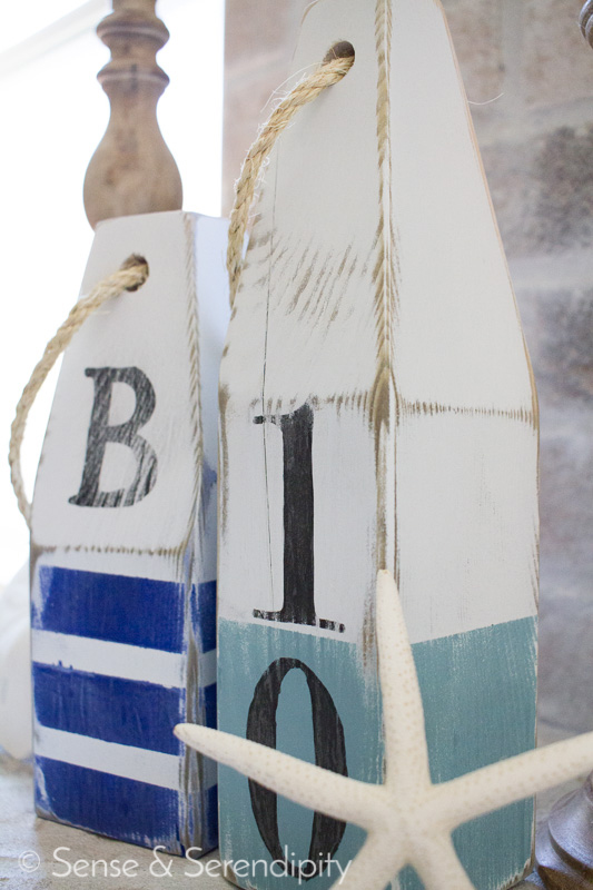 Sense & Serendipity | DIY Nautical Wood Buoys, nautical, summer decor, wood buoys, summer style, distressed buoys, nautical decor