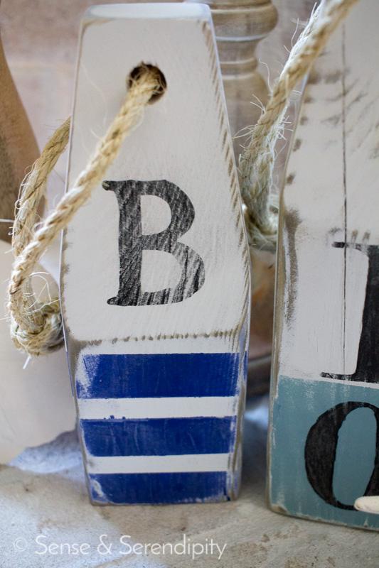 Sense & Serendipity   DIY Nautical Wood Buoys, nautical, summer decor, wood buoys, summer style, distressed buoys, nautical decor