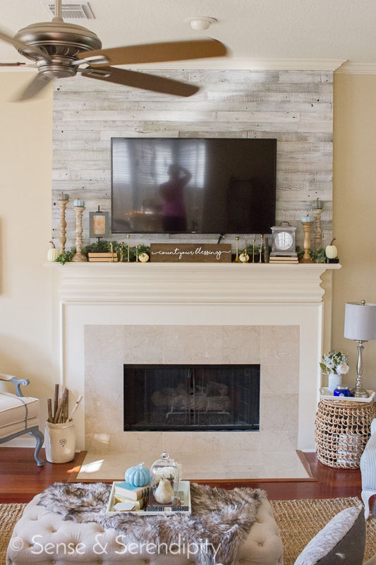 Plank & Mill Whitewash Reclaimed Wood Fireplace Mantel