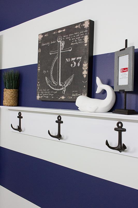 DIY Nautical Wall Shelf with Hooks