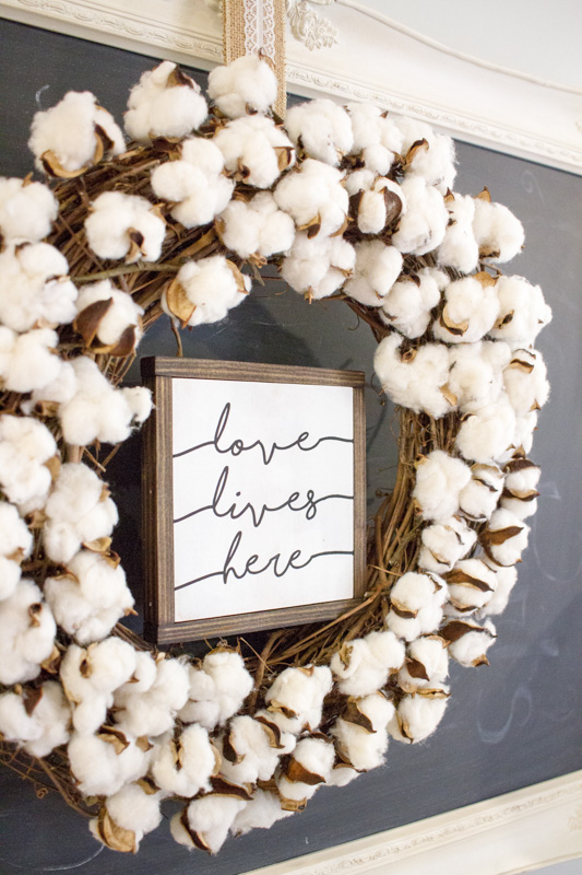DIY Cotton Boll Wreath