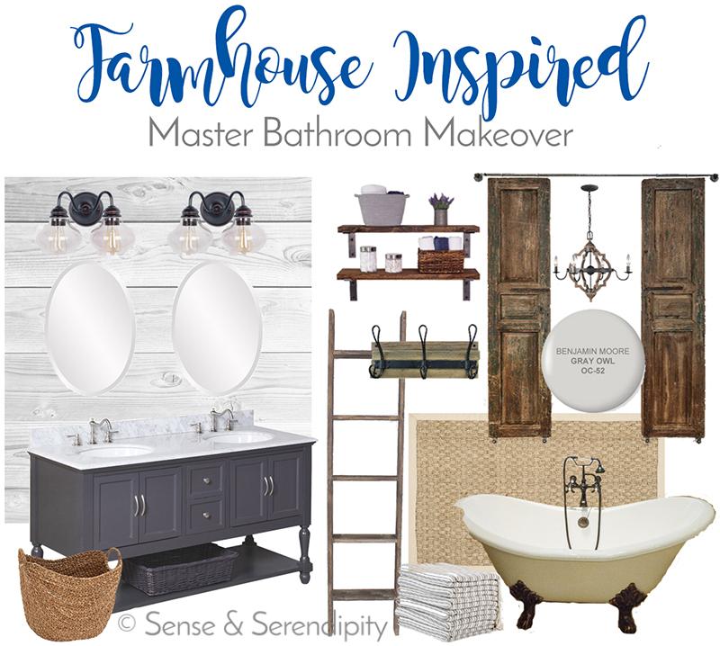 Sense & Serendipity | Farmhouse Inspired Master Bath Makeover, master bathroom, DIY, bathroom makeover, farmhouse decor, farmhouse style
