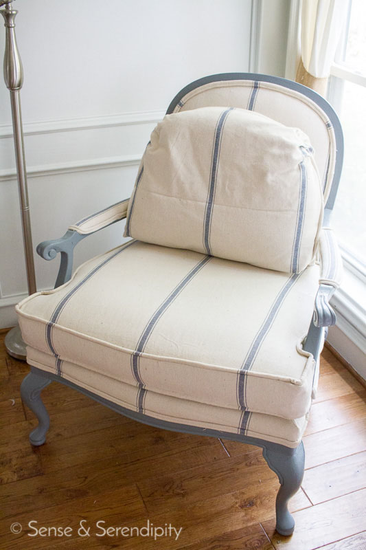 Sense & Serendipity | DIY French Chair Makeover, reupholstery, diy reupholstery, bergere chair, upholstery makeover
