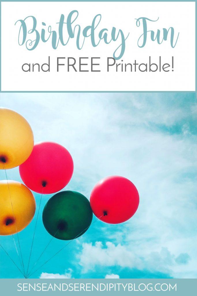 Birthday Fun Free Printable | Sense & Serendipity
