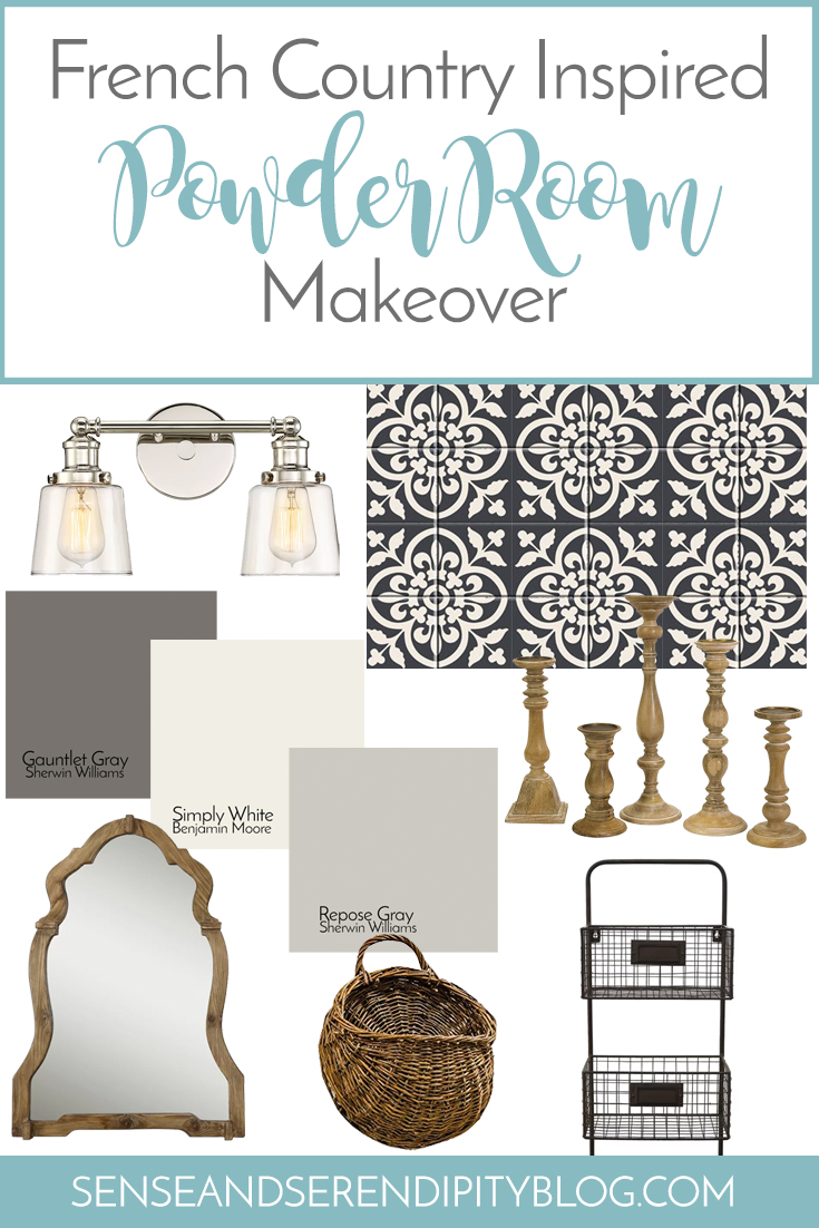 One Room Challenge: French Country Inspired Powder Room Makeover | Sense & Serendipity