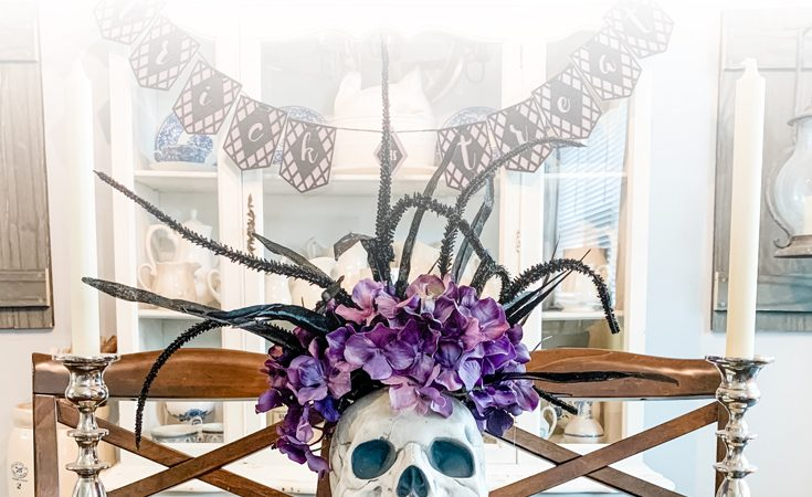 DIY Halloween Skull Table Centerpiece