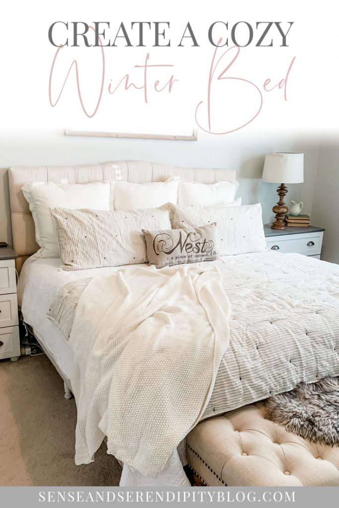 Cozy winter bed, cozy bed, comfortable bed, hygge bed, hygge bedroom